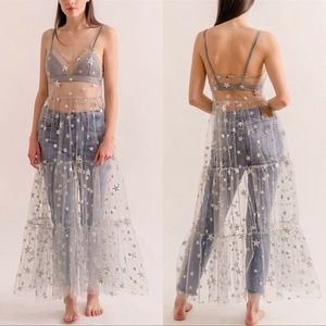 Minted Silver Galaxy Sparkle Mesh Maxi CoverUp
